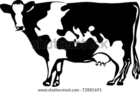 vector drawing of the cow with stylized map of the world - stock vector
