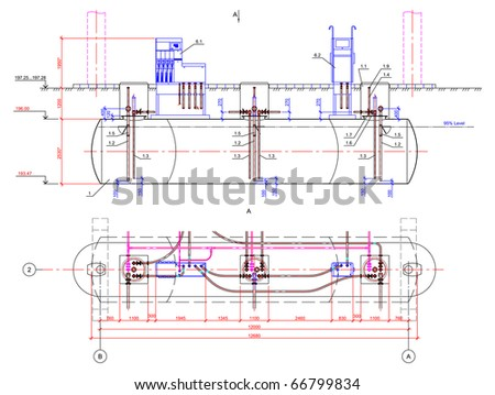 Stock Vector Vector Drawing Of The Underground Tank Drawing Of Underground Fuel Tanks At Petrol Station on Underground Oil Storage Tank Diagram