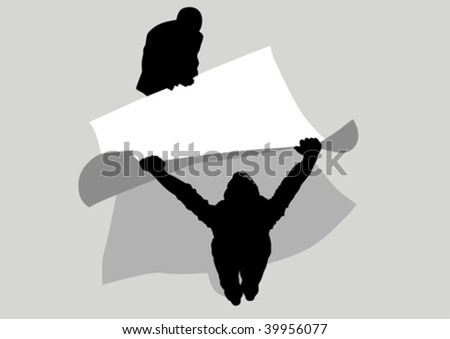 Vector drawing of two men held a large poster