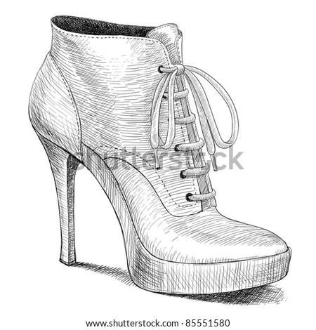 Drawn Black High Heel Shoes