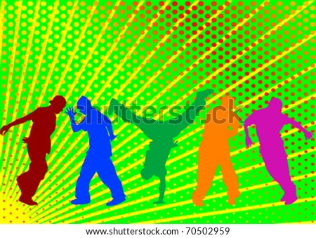 Vector drawing on disco dancing and hip-hop - stock vector