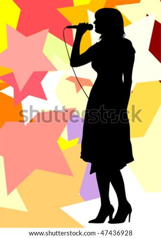 Vector drawing one girl singing with a microphone. Silhouettes on color stars background - stock vector
