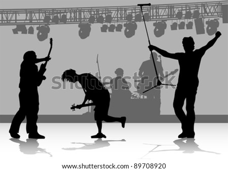 Vector drawing one man singing with a microphone and guitarist - stock vector