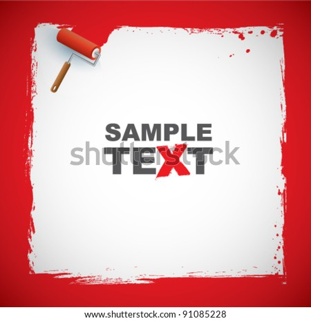 Vector drawing paint-roller - stock vector