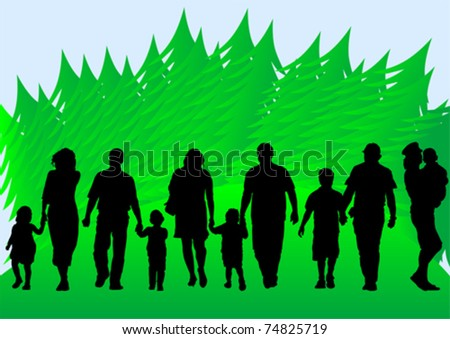 Vector drawing parents and children in wood