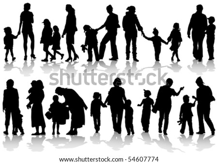 Vector drawing parents and children. Silhouettes of people - stock vector