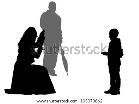 Vector drawing parents and childs - stock vector