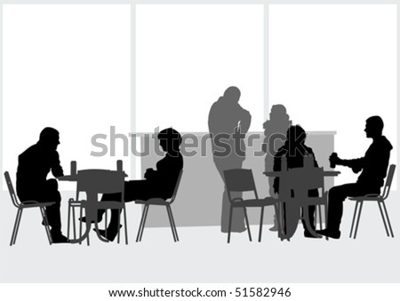Vector drawing people in cafes - stock vector
