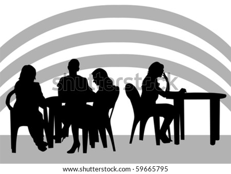 Vector drawing people in little cafes - stock vector