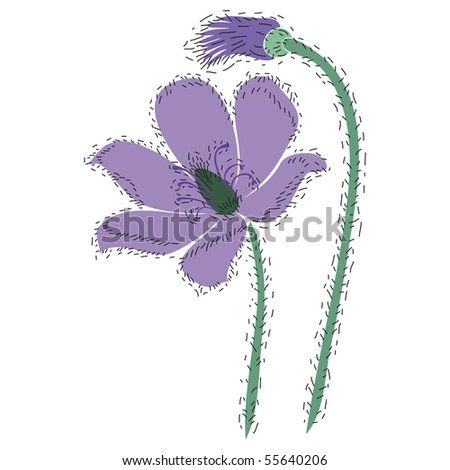 vector drawing plants, flower and bud - stock vector
