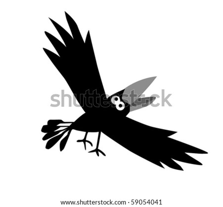 vector drawing ravens  on white background - stock vector