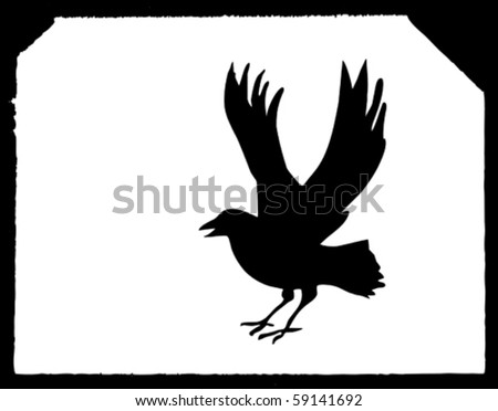 vector drawing ravens on white paper - stock vector