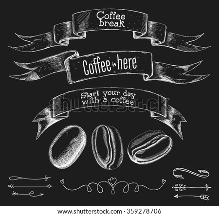 vector drawing ribbons and coffee beans. chalkboard. Vintage style - stock vector