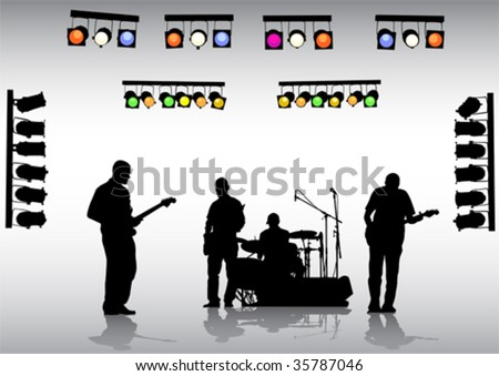 Vector drawing rock band on the stage and lighting equipment - stock vector