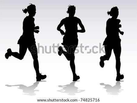Vector drawing running athletes. Silhouettes of people - stock vector