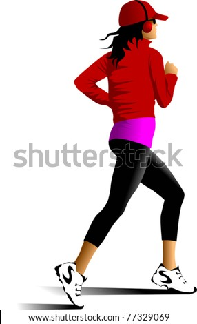 Vector drawing running athletes. Silhouettes of people; - stock vector
