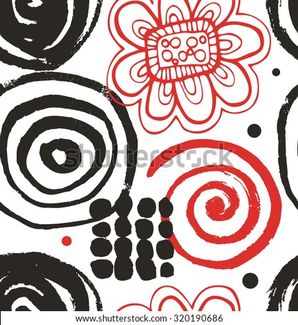 Vector drawing set with decorative ink drawn elements. Aboriginal abstract collection - stock vector