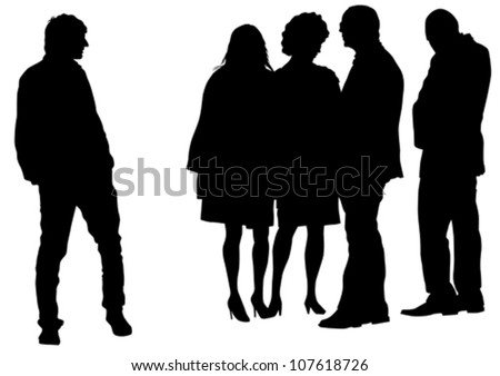 Vector drawing silhouette crowds - stock vector
