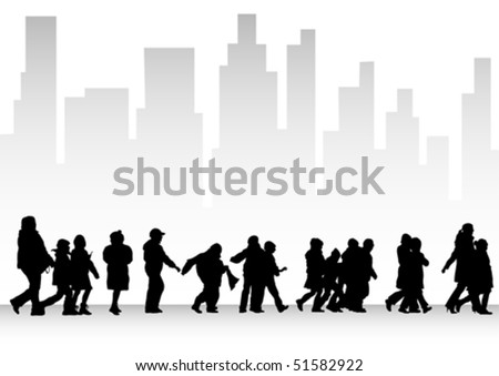 Vector drawing silhouette crowds childrens on street - stock vector
