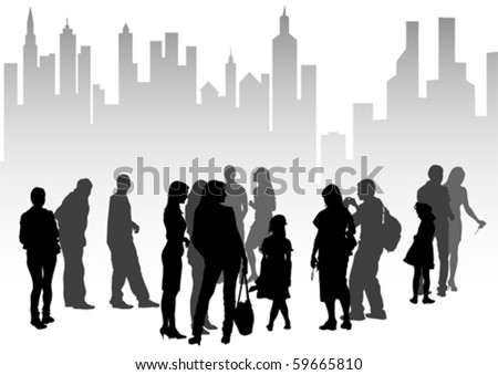 Vector drawing silhouette crowds people on street - stock vector