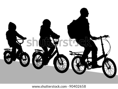 Vector drawing silhouette of a cyclist family - stock vector