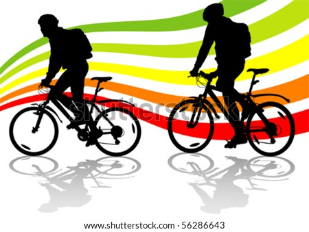 Vector drawing silhouette of a cyclist in motion - stock vector