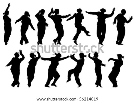 Vector drawing silhouettes of dancing girls in a nightclub