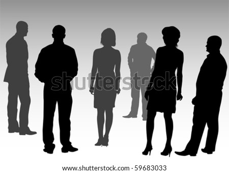 Vector drawing silhouettes of people business - stock vector