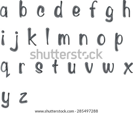 Vector Drawing Small Letters A To Z Design