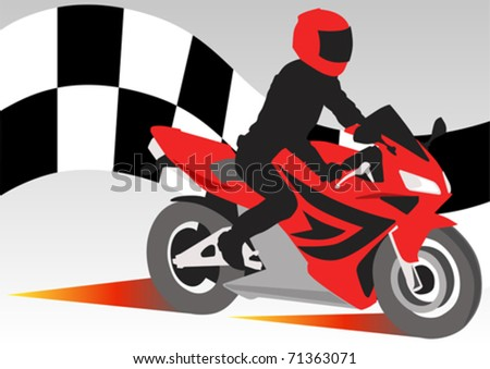 Vector drawing sports motorcyclist on road