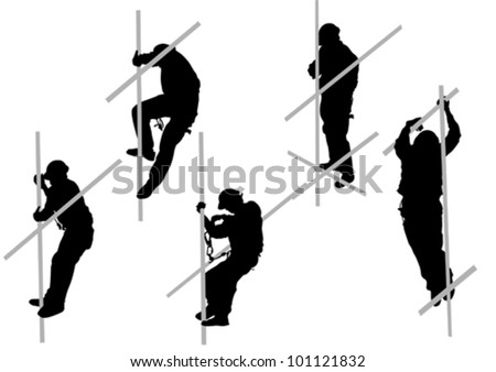Vector drawing steeplejack in a helmet