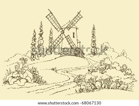 Vector drawing. The dashed outline of the summer landscape with mill - stock vector