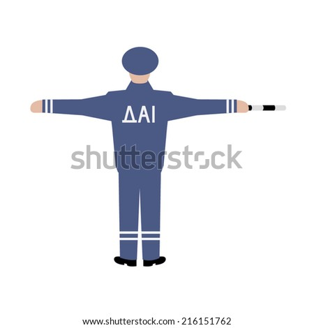 Vector Drawing Traffic Officer Uniform Gesture Stock Vector HD ...