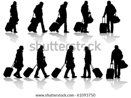 Vector drawing travelers with suitcases. Silhouettes on white background
