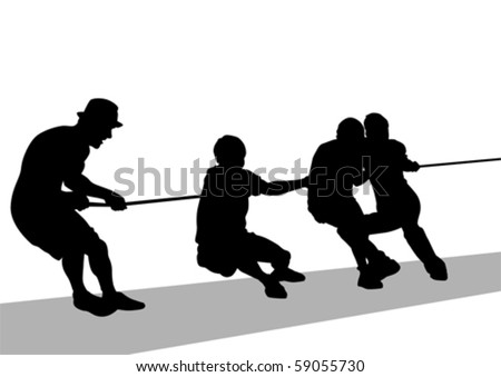 Vector drawing tug. Silhouette sports - stock vector