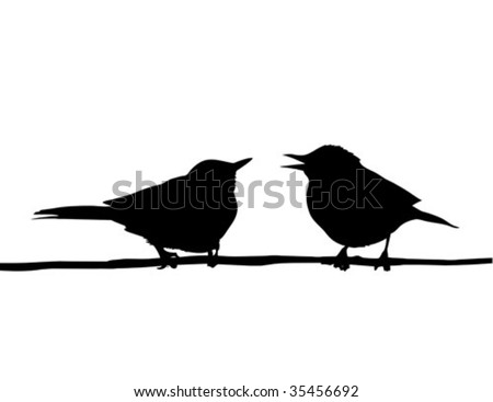 vector drawing two birds sitting on branch - stock vector