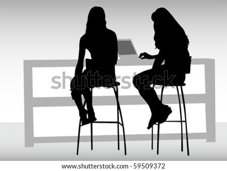 Vector drawing women from office. Images workplace - stock vector