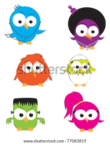 Vector drawings of cute little birds - stock vector