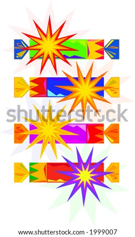 Vector drawings of traditional English Christmas crackers or party crackers. Illustrator EPS. - stock vector
