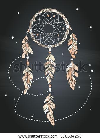 Vector Dream catcher Amulet. Ethnic illustration, tribal - stock vector