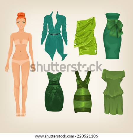 Vector dress up paper doll with an assortment of green dresses - stock vector