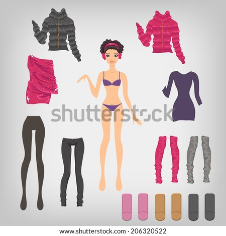 Vector dress up paper doll with an assortment of winter clothes - stock vector