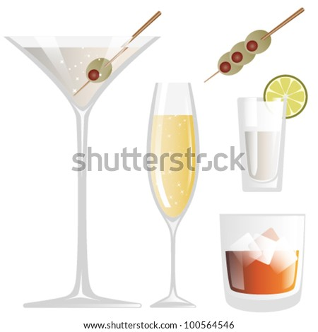 Vector Drink Glass - stock vector
