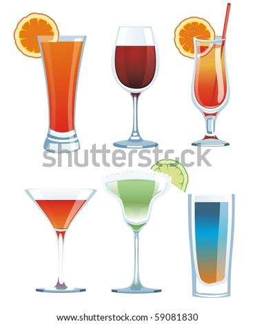 vector drink set - stock vector