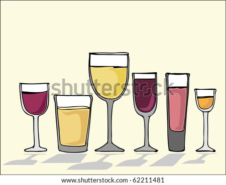 vector drinking glasses set - stock vector