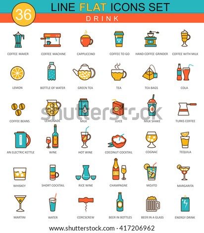 Vector Drinks flat line icon set. Modern elegant style for web. Drinks icons set, Drinks  icons image, Drinks flat line icons, Drinks color line icons, Drinks icons illustration, Drinks icons set - stock vector