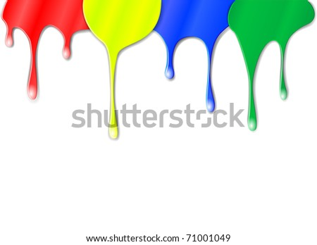 Vector drips of color paint - stock vector