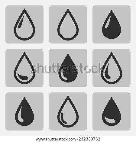 Vector drop  black icons on a gray square - stock vector