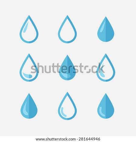 Vector drop icons in flat style,blue tones over white - stock vector