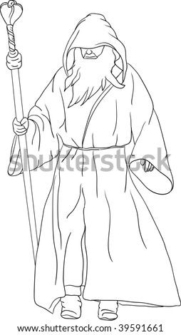 vector - druid isolated on background - stock vector
